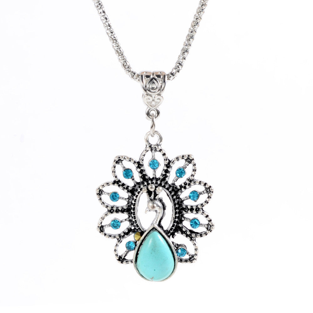 Bohemian Style Womens Jewelry Charming peacock Pendant Pretty Turquoise Stone Necklace
