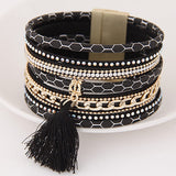 Boho Fashion Multilayer Rhinestone Leather Tassel Bracelets & Bangles Magnetic jewelry for women men pulseira feminina gift