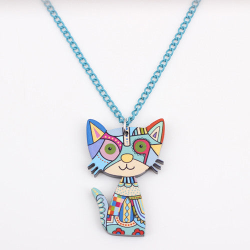 Bonsny Acrylic Cat Necklace Pendant Chain Collar Choker Pendant Animal Fashion Jewelry For Women Girs News Accessories