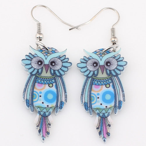 Bonsny Drop Owl Earrings Acrylic Long Big Dangle Earrings News Spring Summer Girls Women Jewelry Accessories Fashion Styles