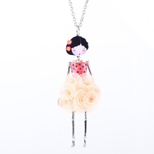 Bonsny French Paris Doll Necklace Dress Flower Long Chain Alloy Doll Pendant Fashion Jewelry For Women News Accessories