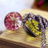 Boutique Real Dried Flower Sea Lavender Glass Ball Double Sided Pendant Chain Necklace FOR WOMEN 50cm