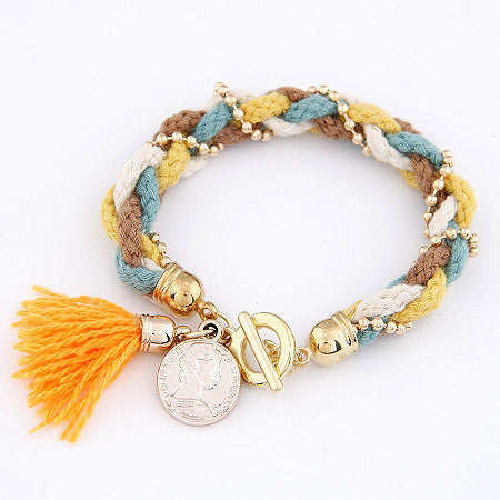 Bracelet Femme Fashion Gold Coin Pendant Charm Bracelets Bangles for Women Wool Tassel Jewelry bijoux