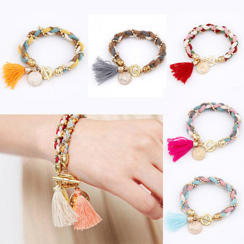 Fashion Bracelet Femme Fashion Gold Coin Pendant Charm Bracelets Bangles for Women Wool Tassel Jewelry bijoux