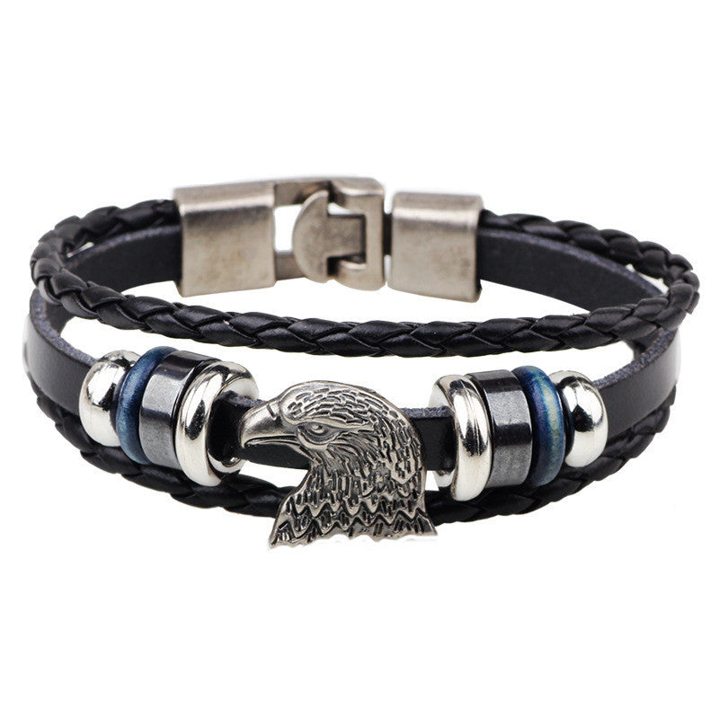Bracelet femme Vintage Punk Style Male men Rock Eagle Head Multilayer Black Leather Bracelet Cuff Braided Bangle Gift
