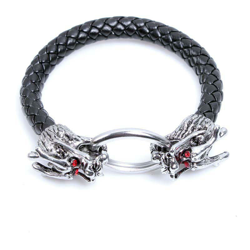 Braided Leather Double Chinese Dragon Head Bracelet Bangle For Man men Gift