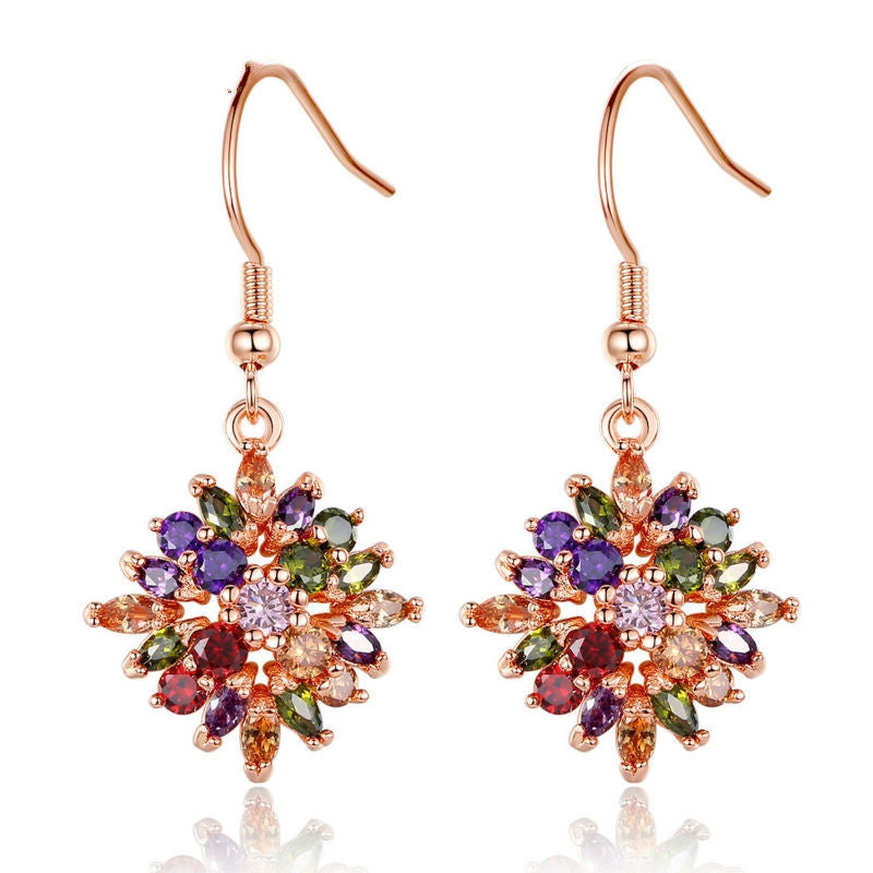 Brand 18K Rose Gold Plated Flower Drop Earrings with Colorful Cubiz Zircon For Women