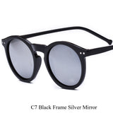 Brand Designer Ellipse Shape Multiple Color Reflective Sunglasses Women Vintage Keyhole Mirror Glasses