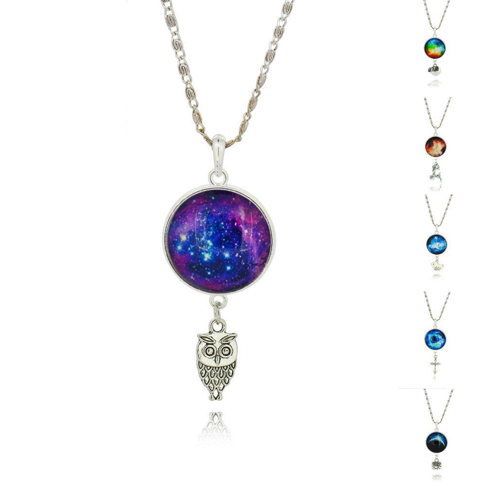 Brand Fashion Jewelry Pendant Silver Chain Galaxy Necklace Choker Necklace Glass Galaxy Lovely & Pendant