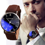 Brand New Brown Luxury Men Watch Fashion Faux Leather Mens Roman Numerals Quartz Analog Watch Casual Male Business Watches