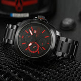 Brand New NAVIFORCE Chronograph 24 Hours Black Red Dial Stainless Steel Band Men Outdoor Sport Watch Men Watch
