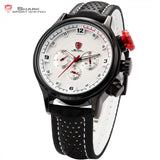 Brand New SHARK Sport Watch 6 Hands Date Day White Analog Stainless Steel Case Black Leather Strap Quartz Mens Watches