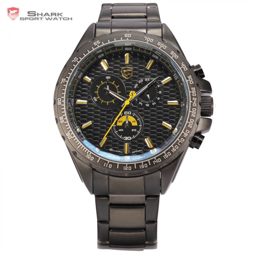 Brand New Shark Sport Watch Bezel Chronograph 24 Hours Black Yellow Dial Stainless Steel Band Men Outdoor Wristwatch Gift