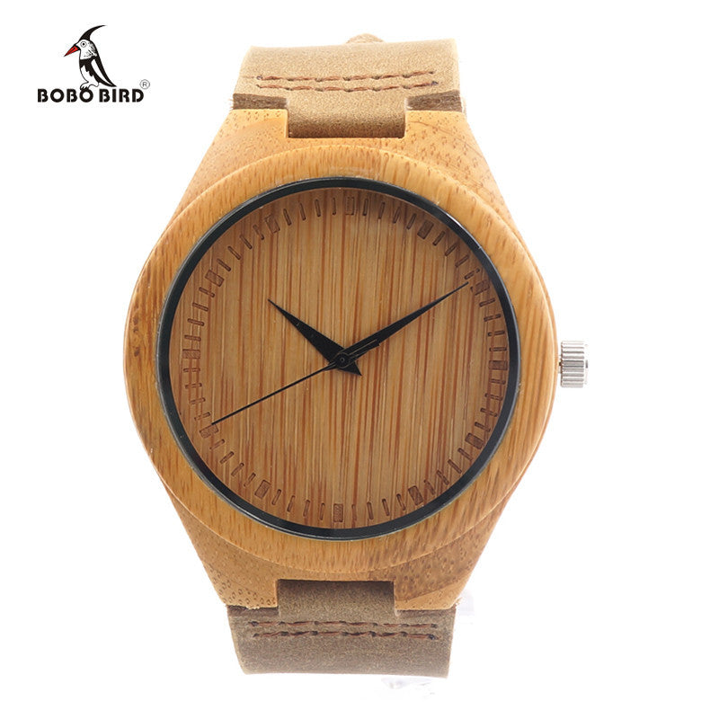 Brand Bamboo Watches Japan 2035 Move' Wood Wristwatches with Genuine Leather Band as Gifts for Friends