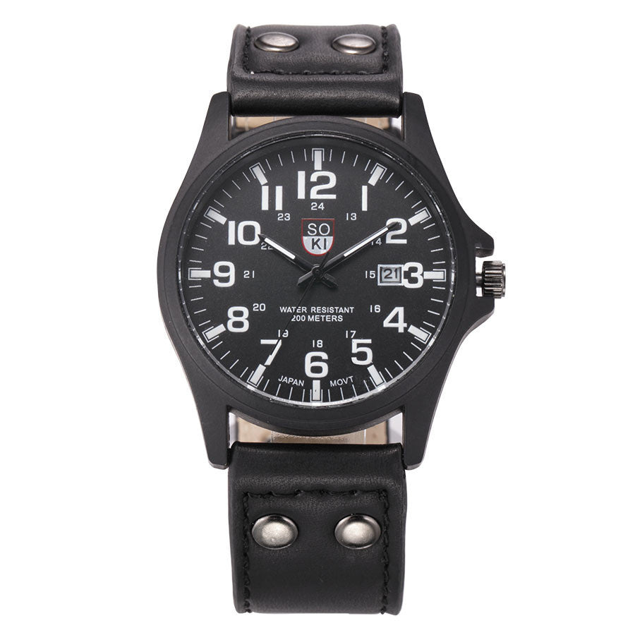 Brand Sport Military Watches Fashion Casual Quartz Watch Leather Analog Men New SOKI Luxury Wristwatch Relogio Masculino