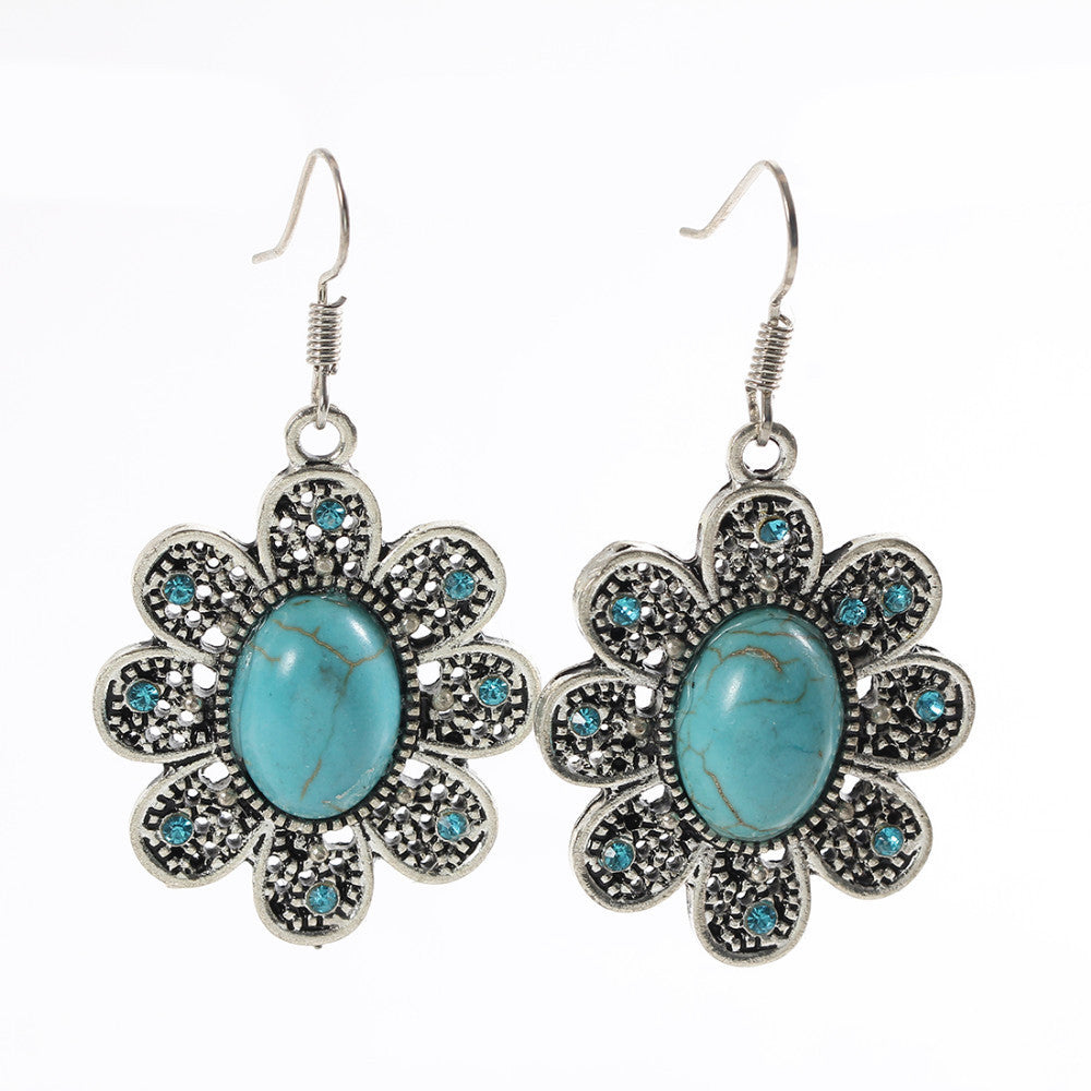 Brand designer New Fashion Simple Geometric flower blue gem Bohemia Retro big Turquoise earrings for women flower long earring