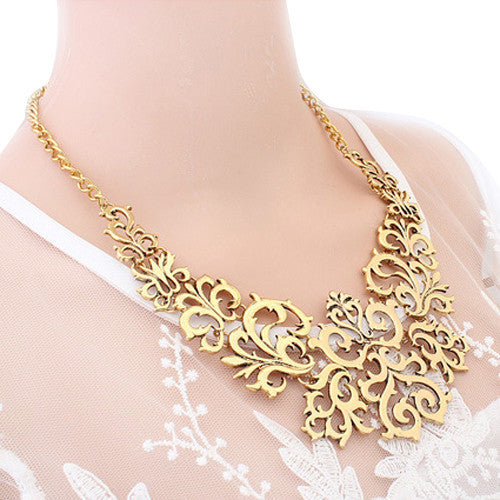 Brilliant quality Fashion Women Hollow Bib Choker Statement Vintage Paper cut necklaces pendants