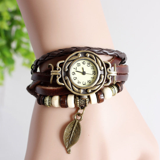 Leather strap leaf casual women vintage watch stainless steel analog round dial bracelet wristwatch quartz watch