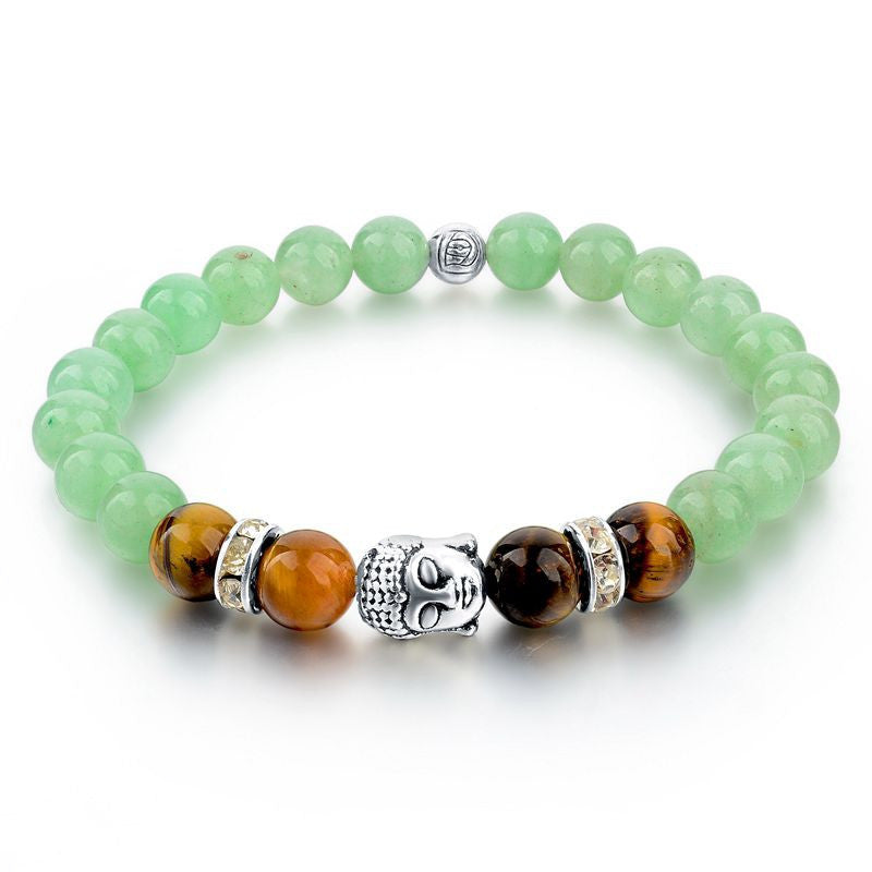 Buddha Jade Bracelets For Women Tibetan Silver Chain & Link Bracelets & Bangles Vintgae India Natural Stone Bead Love Jewelry