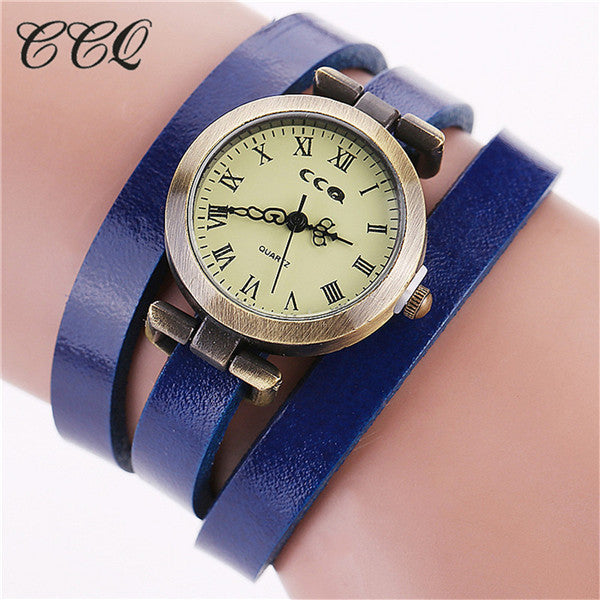 Fashion Vintage Cow Leather Bracelet Roma Watch Women WristWatch Casual Luxury Quartz Watch Relogio Feminino Gift