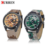CURREN New Army Watch Leather Strap Analog Display Men's Quartz Watch Military Sport Watch Men's Wristwatch