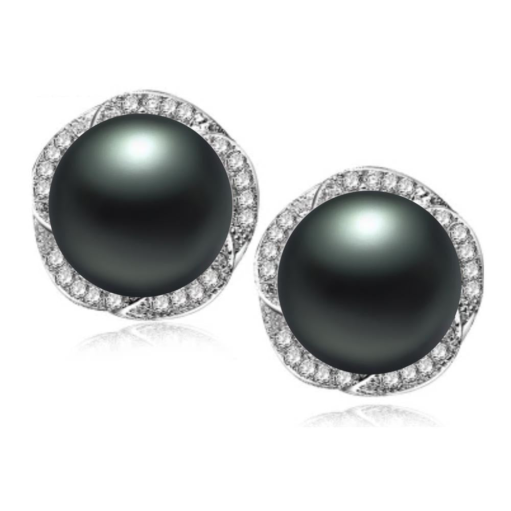 CZ stud earrings fashion natural pearl jewelry for women high quality 18k white gold plated women earrings