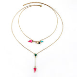Casual Sporty Fashion All Match Simple Long Retro Two Layer Arrows Pendant Necklace