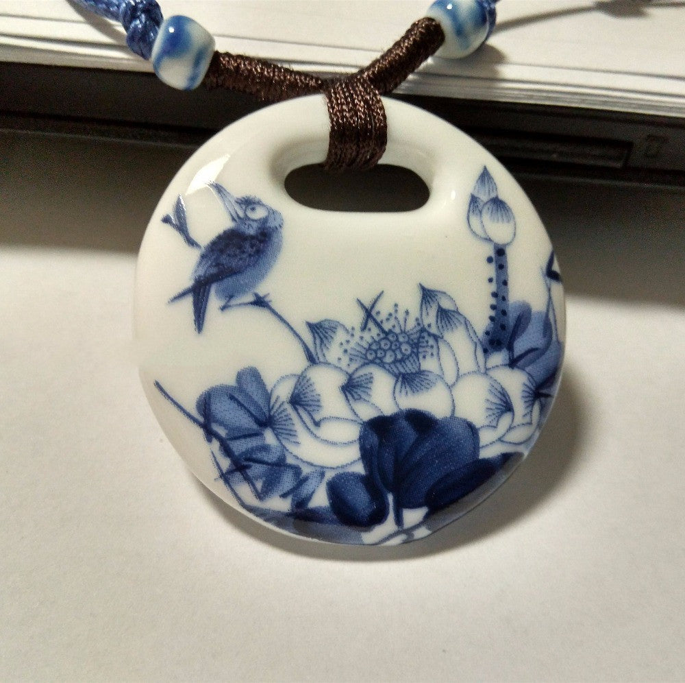 Ceramic Necklace Pendants New Fashion Vintage Handmade Blue And White Jewelry Accessories Wholesale Gifts For Lovers