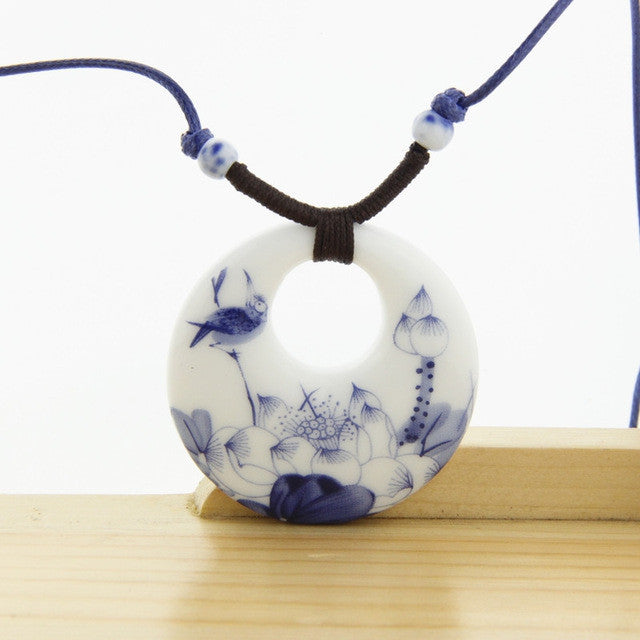Ceramic Necklace Pendants New Fashion Vintage Handmade Blue And White Jewelry Accessories Gifts For Lovers