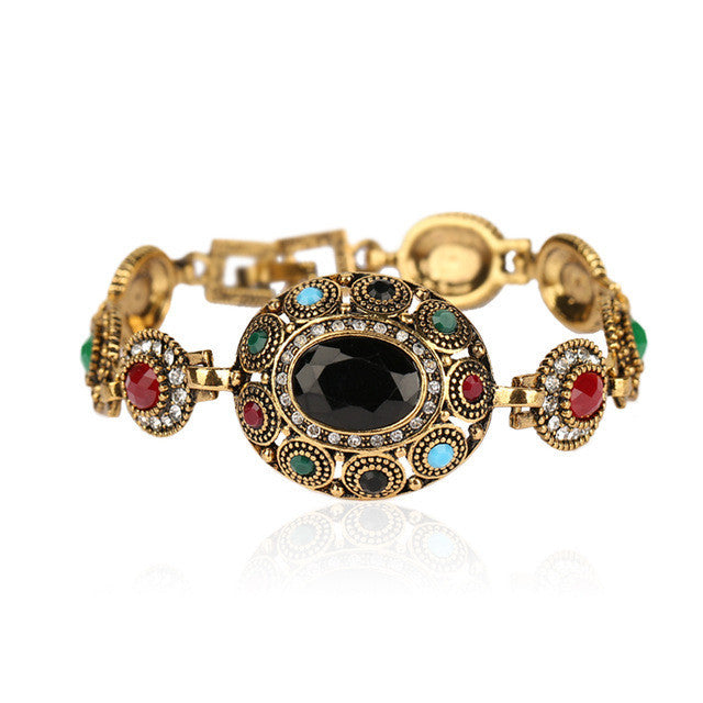 Charm Turkish Jewelry Ellipse Multicolor Resin Austrian Crystals Gold Plated Bracelet For Women Fashion Clothing Accessories