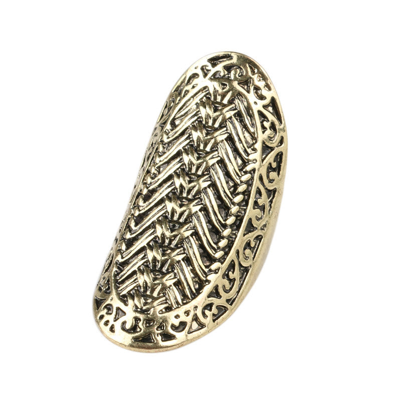 Charm Big Finger Ring Vintage Look Fashion 18K Gold Rings For Women Classical Pattern Christmas Gift