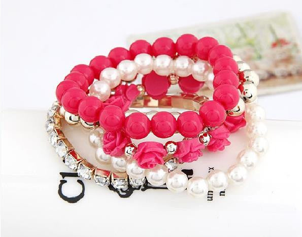 Charm Bracelets For Women Jewelry Rose Flower Multi-layer Wrap Flower Bracelets & Bangles Vintage Pulseras Mujer Pulseiras Femme