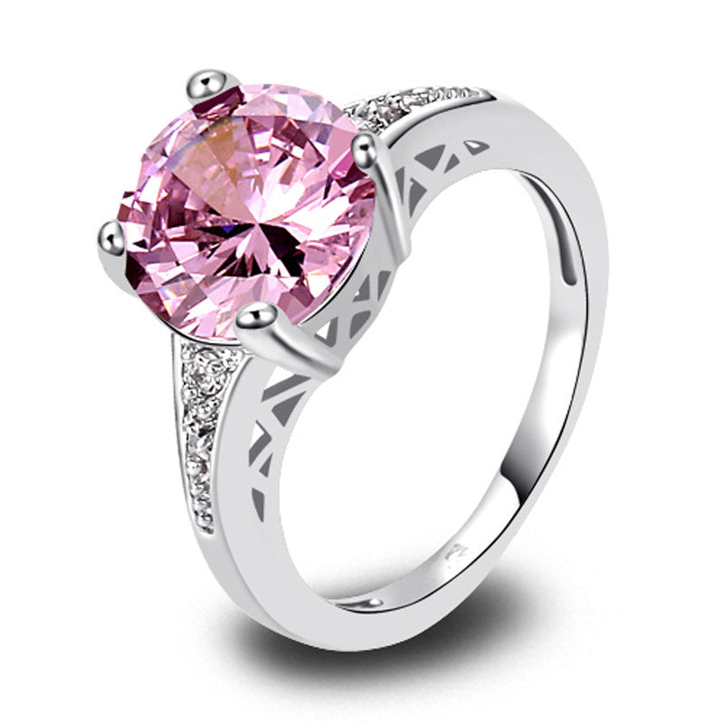 Charm Fancy Shinning Round Pink & White Sapphire 925 Silver Ring