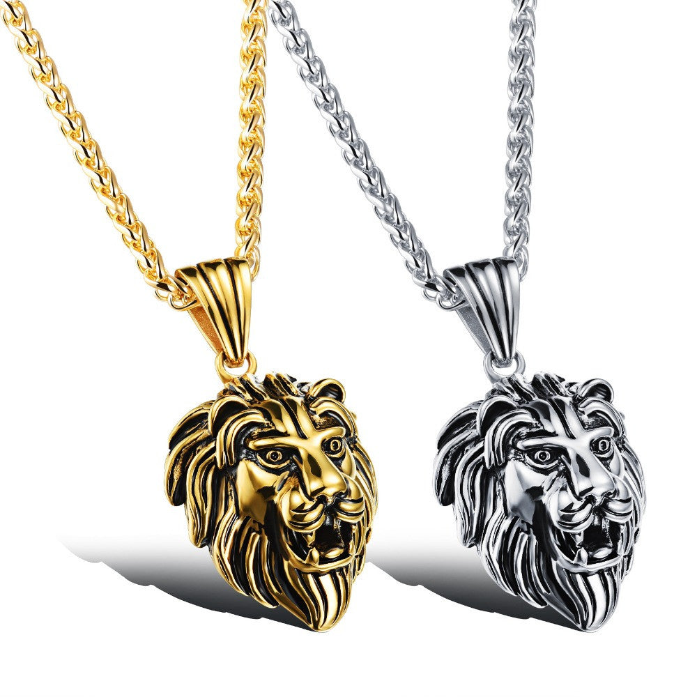 Charm Fashion Men Jewelry Punk Style Gold / Silver Color Lion Head Pendant Stainless Steel Necklace