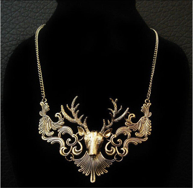 Charming Elk Deer Collar Pendant Classic Vintage Statement Exquisite Choker Necklace Popular Jewelry