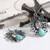 Charming Ethnic Tibetan Silver Oval Rimous Turquoise Crystal Drop Dangle Earrings Christmas Gift for Women Jewelry