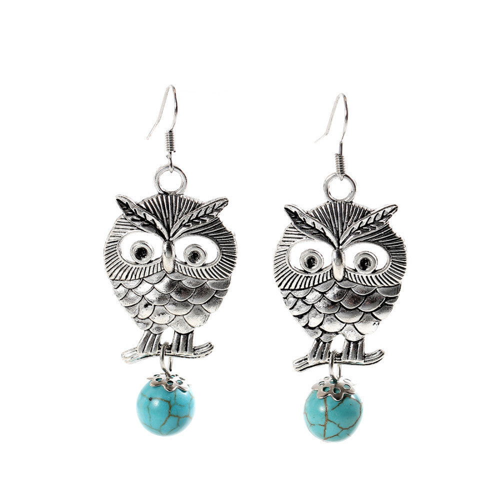 Charming Ethnic Tibetan Silver Oval Rimous Turquoise Earrings Crystal owl Drop Dangle Earring