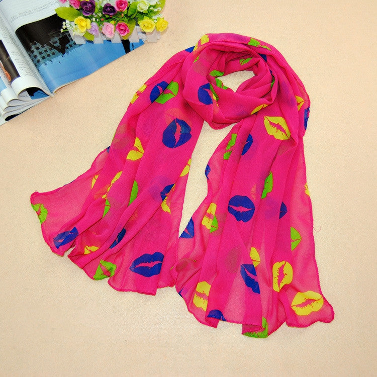 Charming Hot Silk chiffon Blending love on the lips Pattern, Bow hot Scarf Thin Long Wrap Scarves for Girls and Ladies
