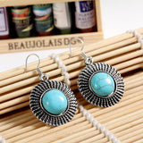 Charming round tibetan silver earring with 100% natural turquoise stone and crystal jewelry Vintage drop earrings for women