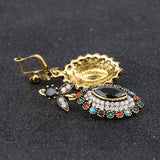 Charms Indian Jewelry Mixed Colorful Stone Crystal Gold Plated Wedding Jewelry Sets For Brides