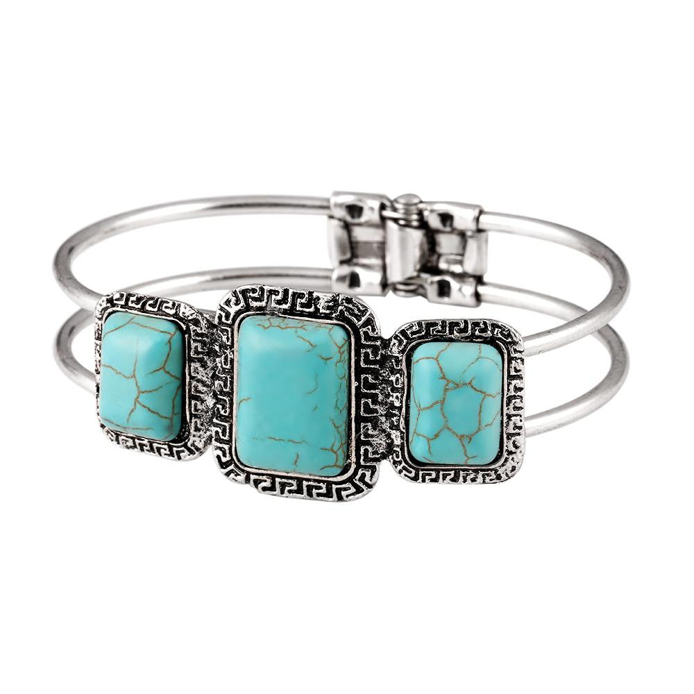 Charms Tibetan Silver Bracelet Square Turquoise Bangle Vantage Carved Design For Women Fashion Jewelry pulsera Accessory