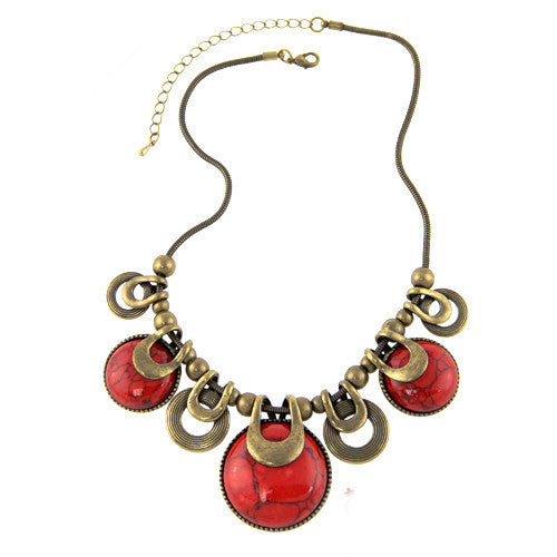 Choker Necklace For Women New Fashion Ethnic Vintage Accessories Natural Stones Chunky Chains Statement Necklace Jewelry