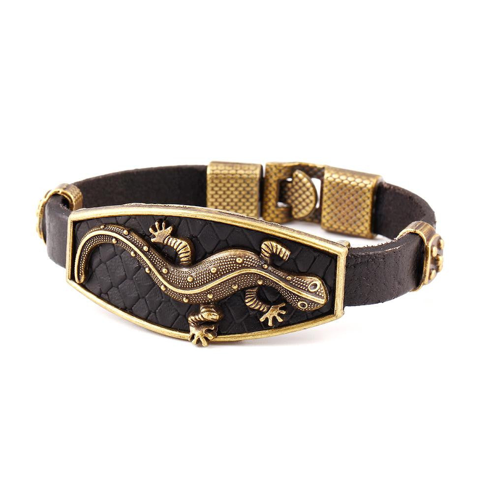 Classic Animal Lizard Leather Charm Bracelet & Bangles Alloy Easy Hook Men Bracelets Fashion Jewelry Black Colors
