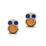 Classic Owl Earrings Zinc Alloy Crystal Silver And Glod Plated Stud Earrings For Women Fashion Brand Earring Jewelry