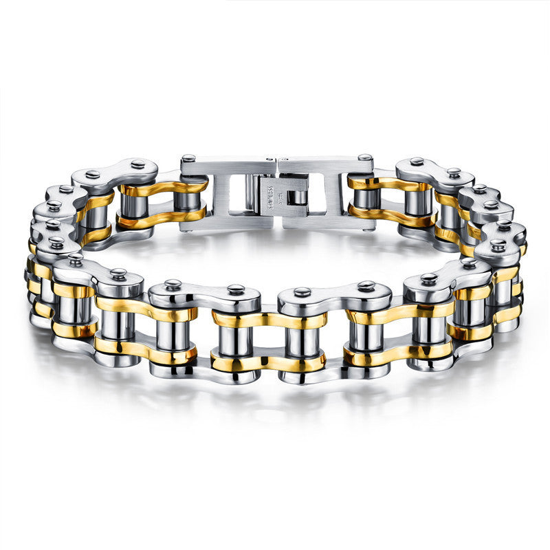 Classical Bicycle Heavy Metal Motorcycle Chain Bracelet Punk Style 316L Stainless Steel Bracelets Bangles For Men Jewelry