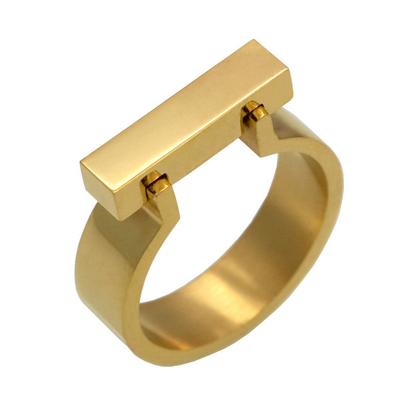 Classics Stainless Steel Jewelry Horseshoe Flat Shackle Brand Ring Punk Finger Love Ring Gold Plated Square Shape Ring For Women