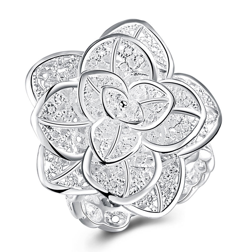 Silver-plated Fashion Jewelry Three Layer Flower Rings For Women Anel Masculino Rings Open Size