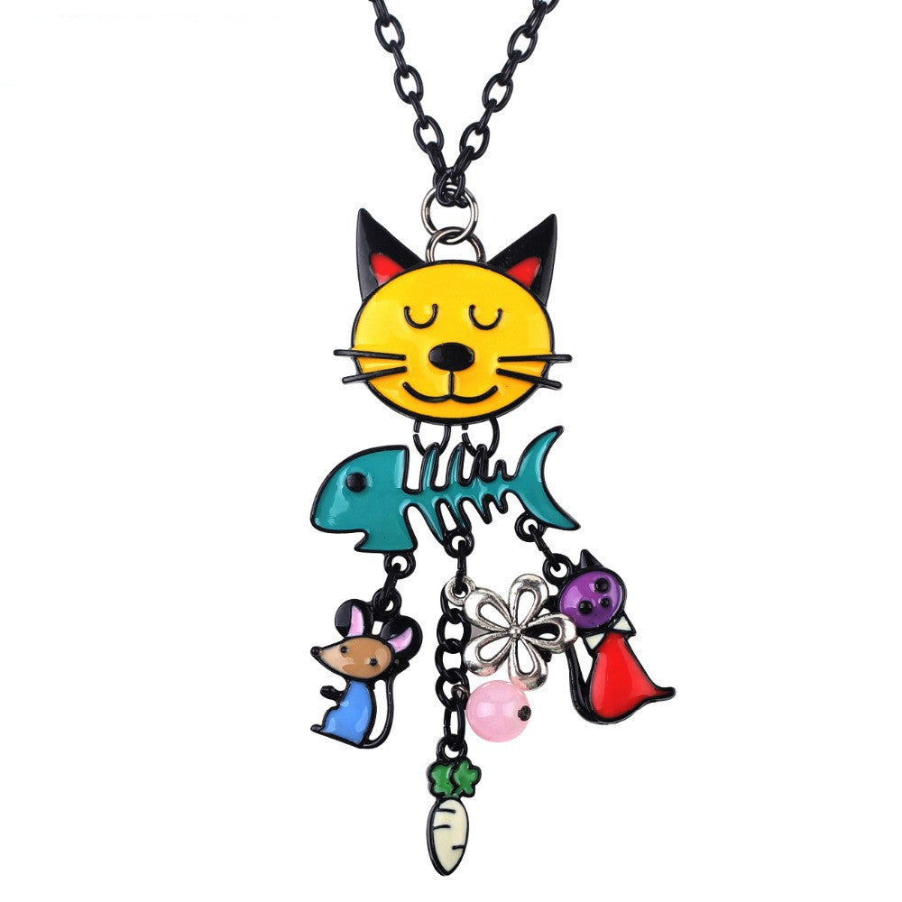 Colorful French Cat Necklace Enamel Pendant Fish Alloy Charm Brand Jewelry For Women Girl