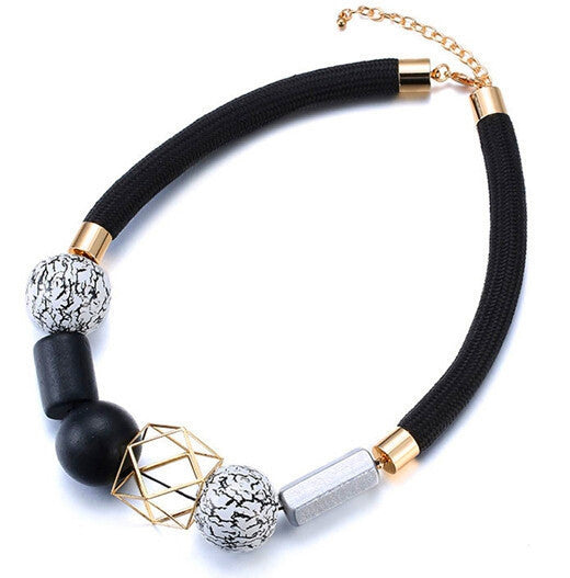 Comiya Ethnic Bohemian black rope Necklace for Women geometric Vintage choker Resin Wood Beads Necklaces & Pendant Jewelry