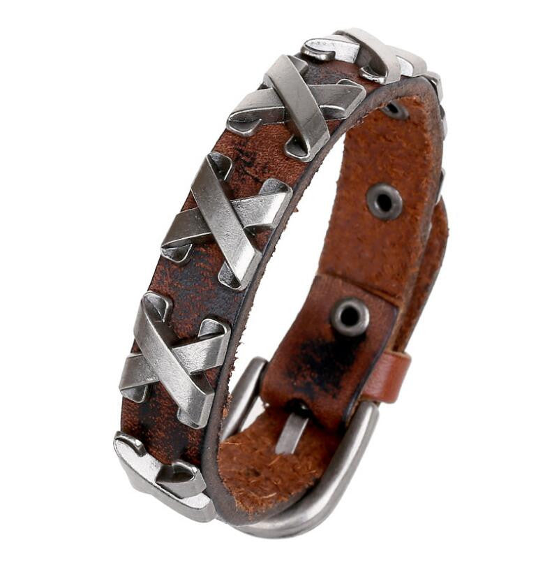 Cool 100% Genuine Leather Thick Male Bracelet Metal Cross Rivets Studded Cuff Bangle Single Buckle Belt Bracelet pulseras hombre